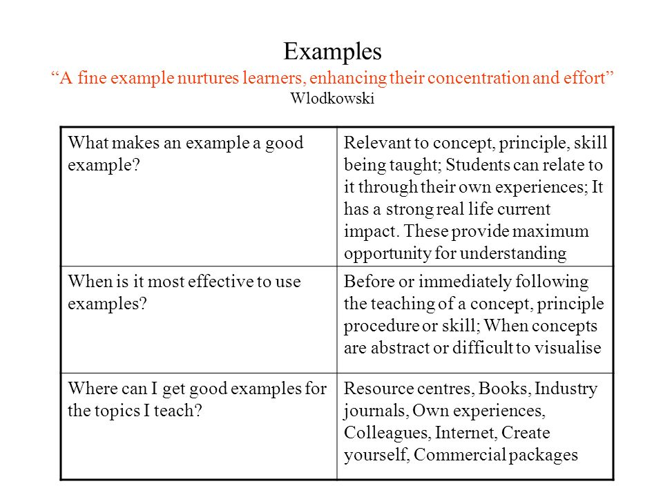 Examples A fine example nurtures learners, enhancing their concentration and effort Wlodkowski