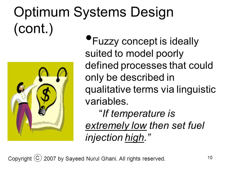 Optimum Systems Design (cont.)