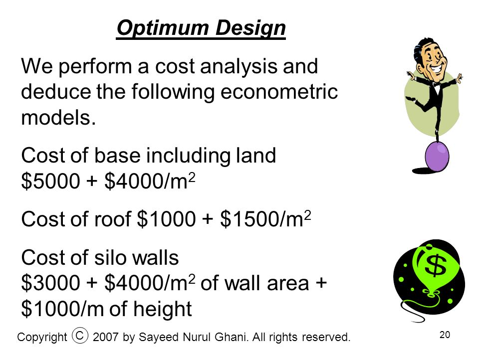 Cost of base including land $5000 + $4000/m2