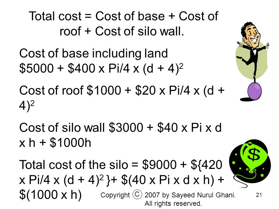 Total cost = Cost of base + Cost of roof + Cost of silo wall.