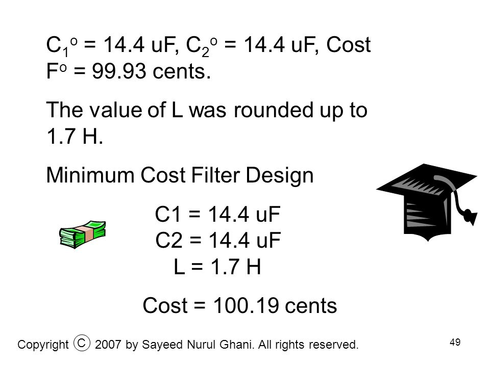 C1o = 14.4 uF, C2o = 14.4 uF, Cost Fo = 99.93 cents.