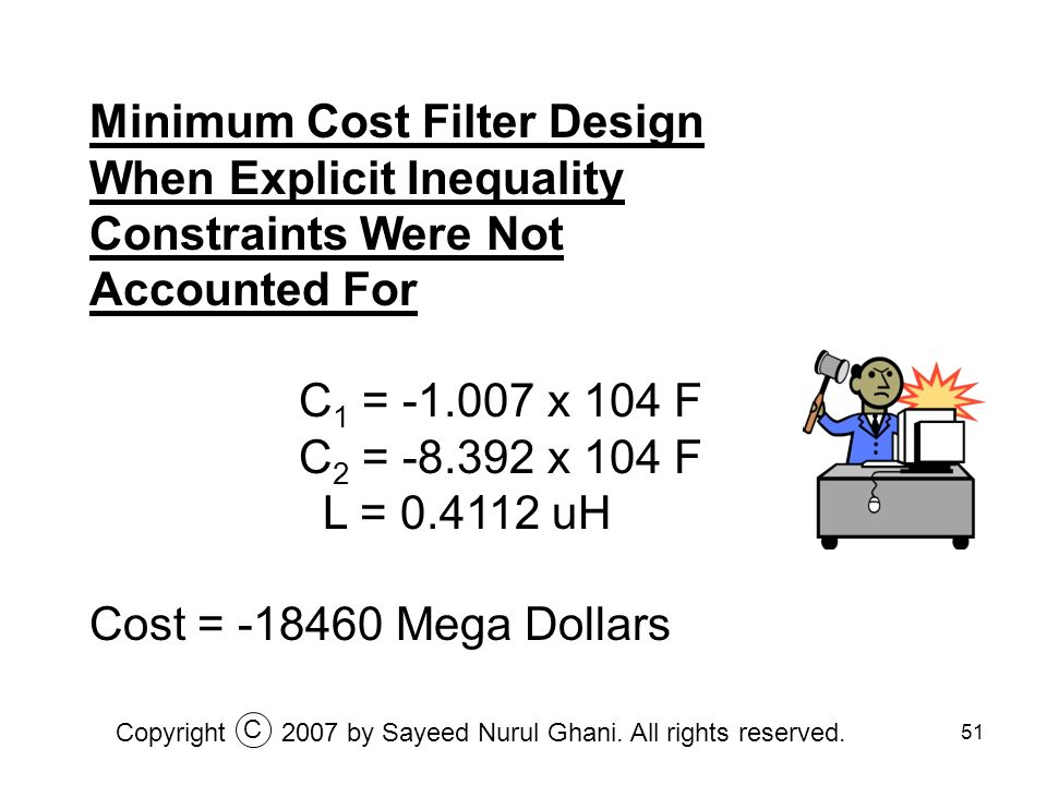 Minimum Cost Filter Design When Explicit Inequality Constraints Were Not Accounted For