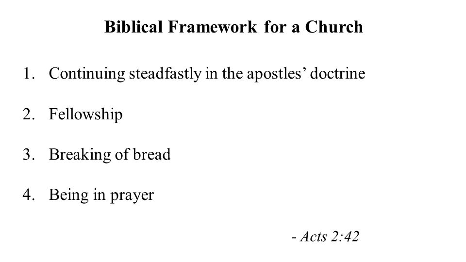 Biblical Framework for a Church