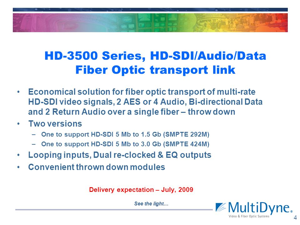 HD-3500 Series, HD-SDI/Audio/Data Fiber Optic transport link