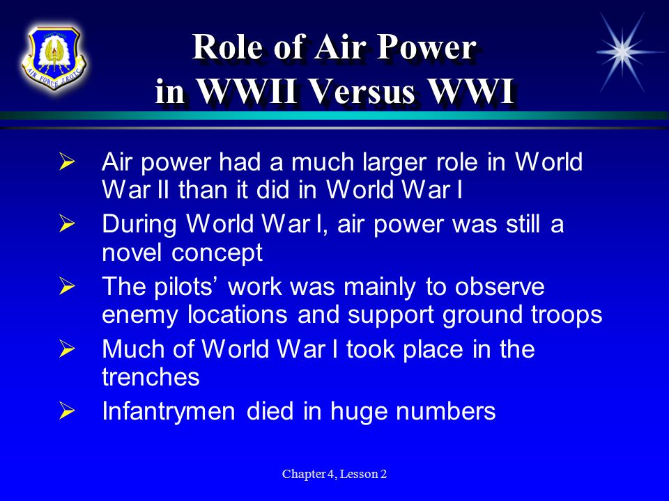 Role of Air Power in WWII Versus WWI