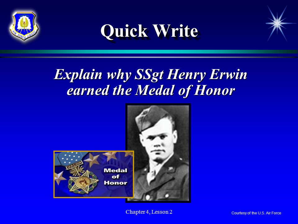 Explain why SSgt Henry Erwin earned the Medal of Honor