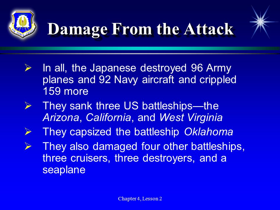 Damage From the AttackIn all, the Japanese destroyed 96 Army planes and 92 Navy aircraft and crippled 159 more.