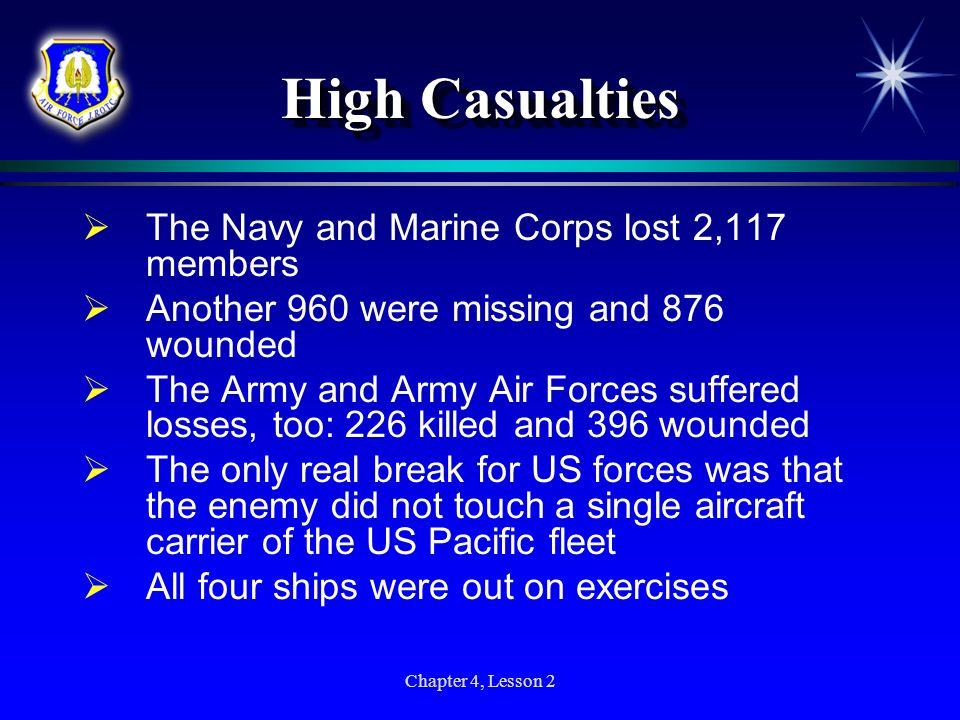 High Casualties The Navy and Marine Corps lost 2,117 members