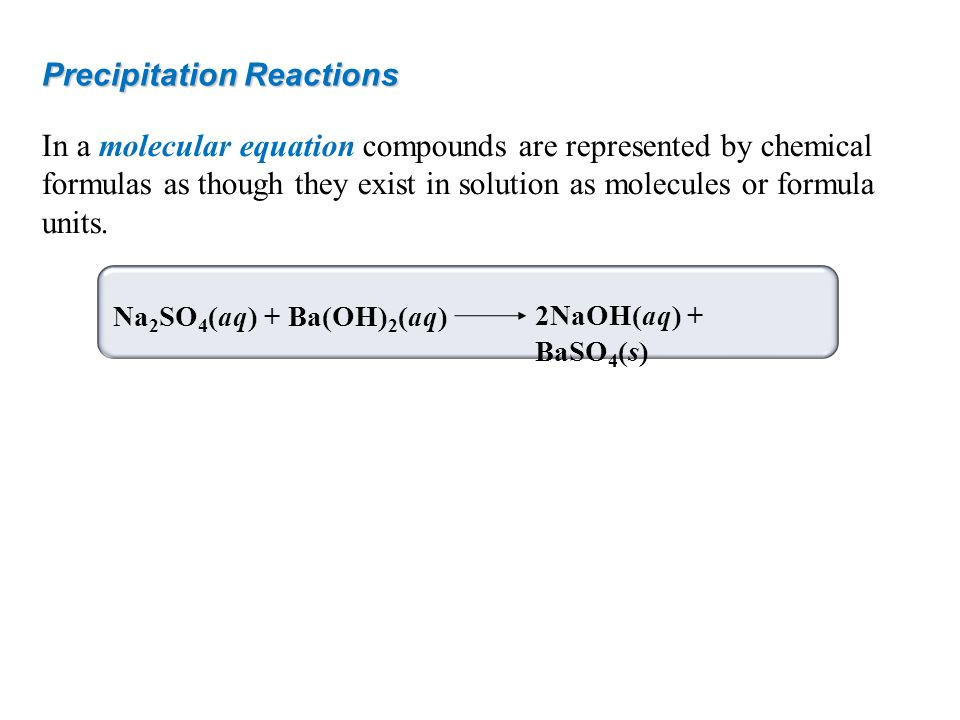 How to write a precipitation reaction equation