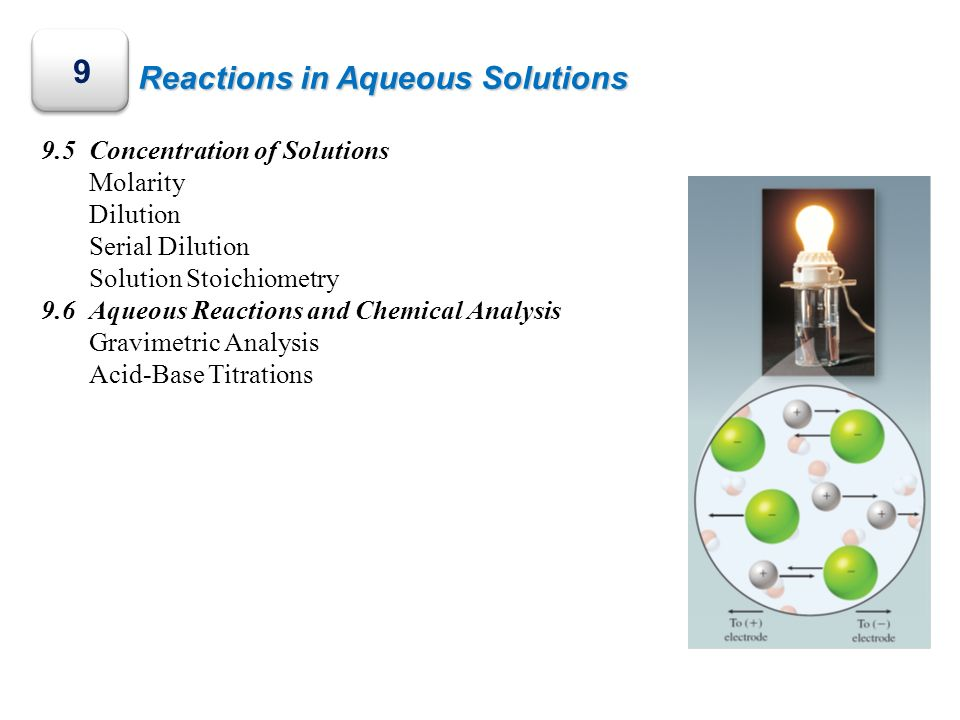 9 Reactions in Aqueous Solutions 9.5 Concentration of Solutions