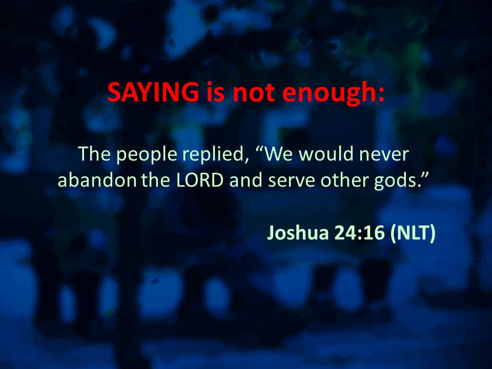 SAYING is not enough: The people replied, We would never abandon the LORD and serve other gods.