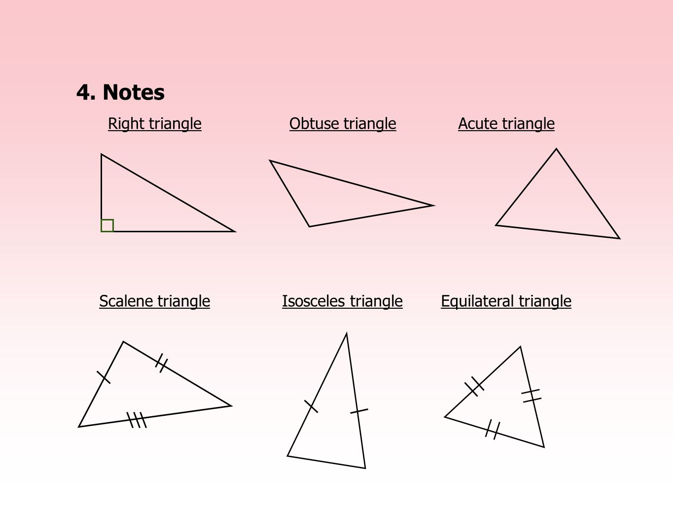4. Notes Right triangle Obtuse triangle Acute triangle