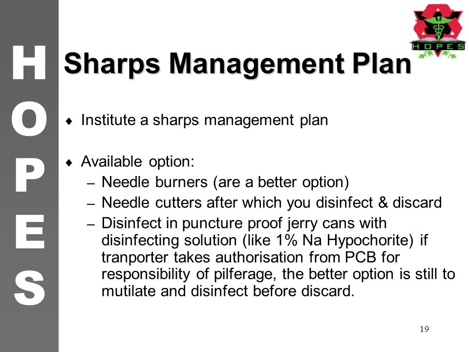 Sharps Management Plan