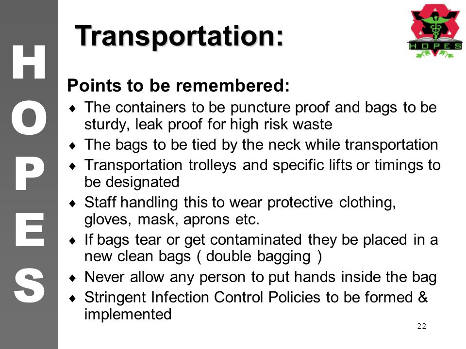 Transportation: Points to be remembered: