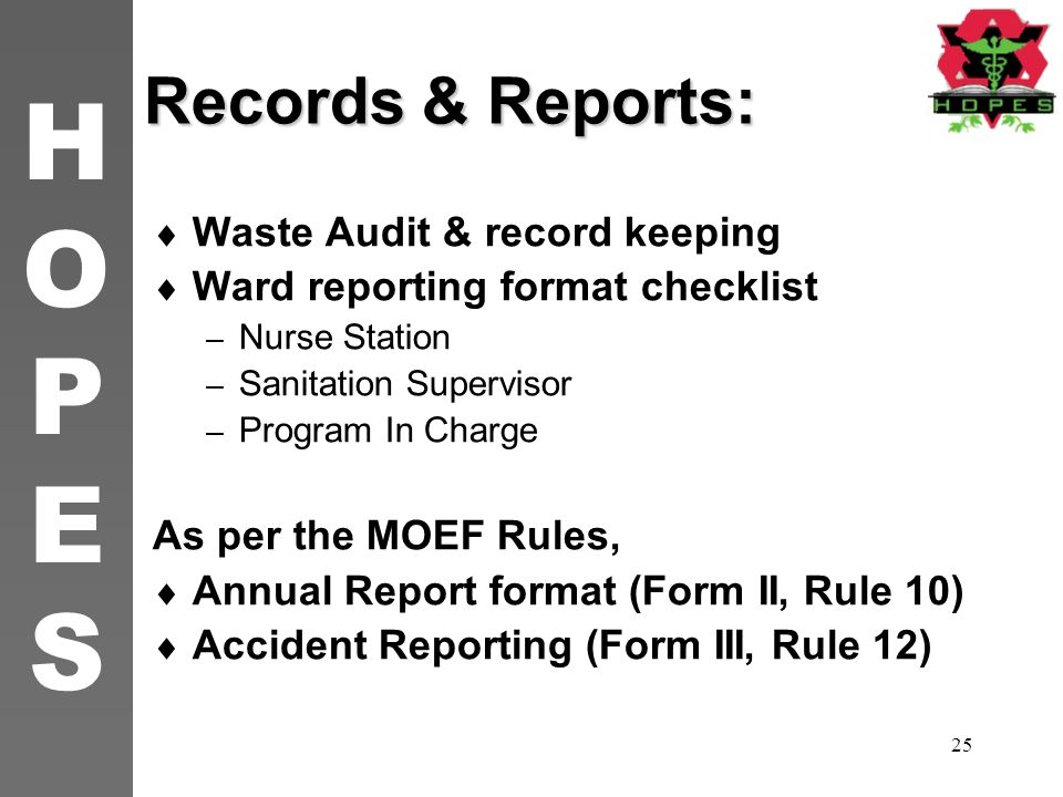 Records & Reports: Waste Audit & record keeping