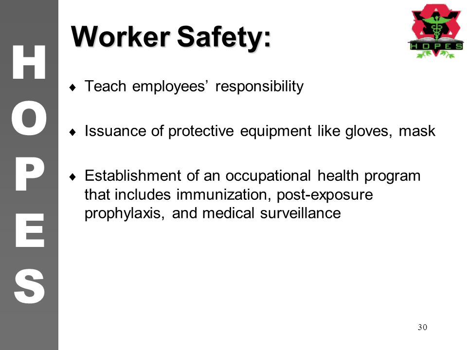 Worker Safety: Teach employees' responsibility