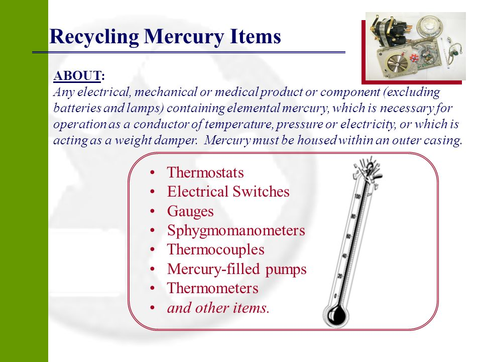 Recycling Mercury Items