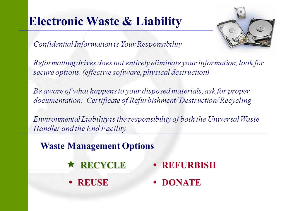 Electronic Waste & Liability