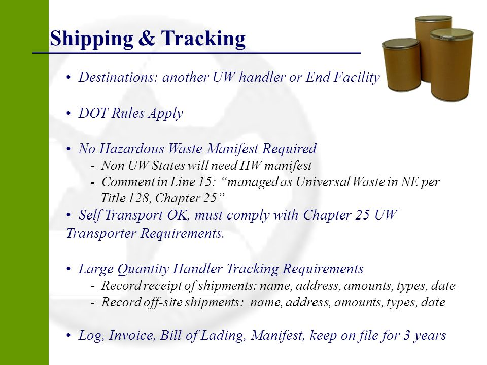 Shipping & Tracking Destinations: another UW handler or End Facility