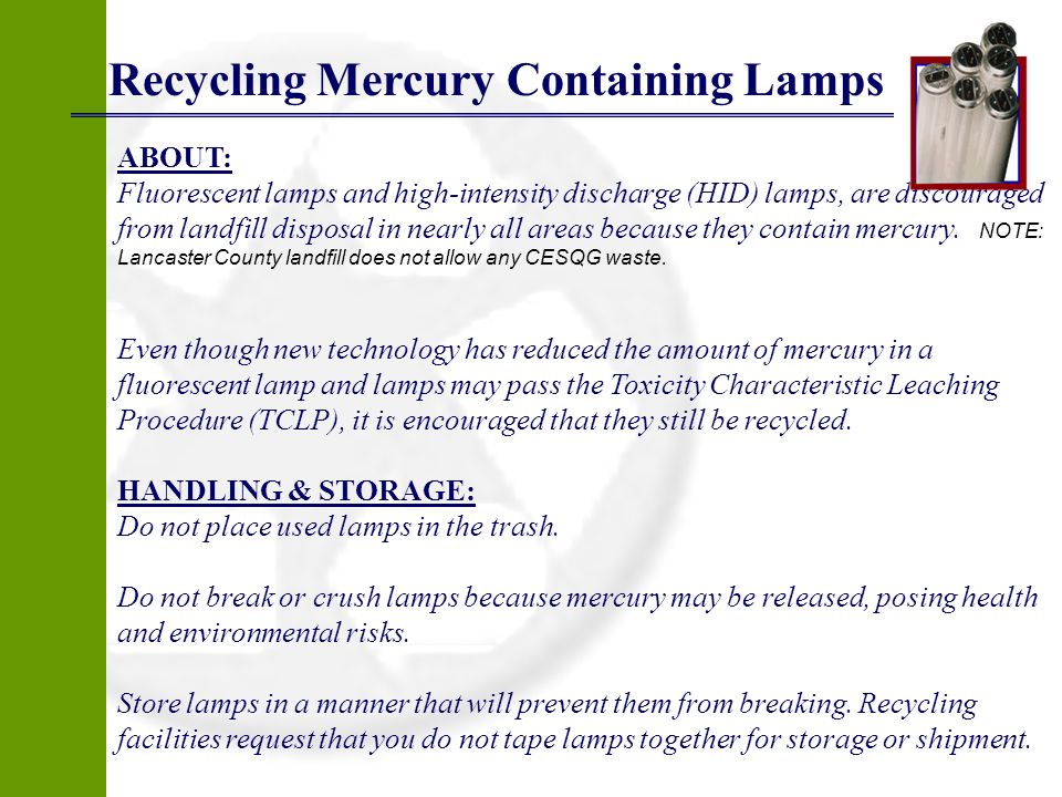 Recycling Mercury Containing Lamps
