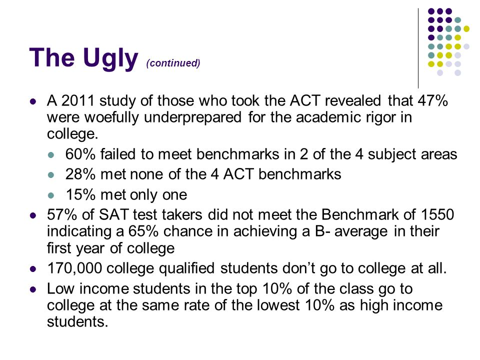 The Ugly (continued) A 2011 study of those who took the ACT revealed that 47% were woefully underprepared for the academic rigor in college.