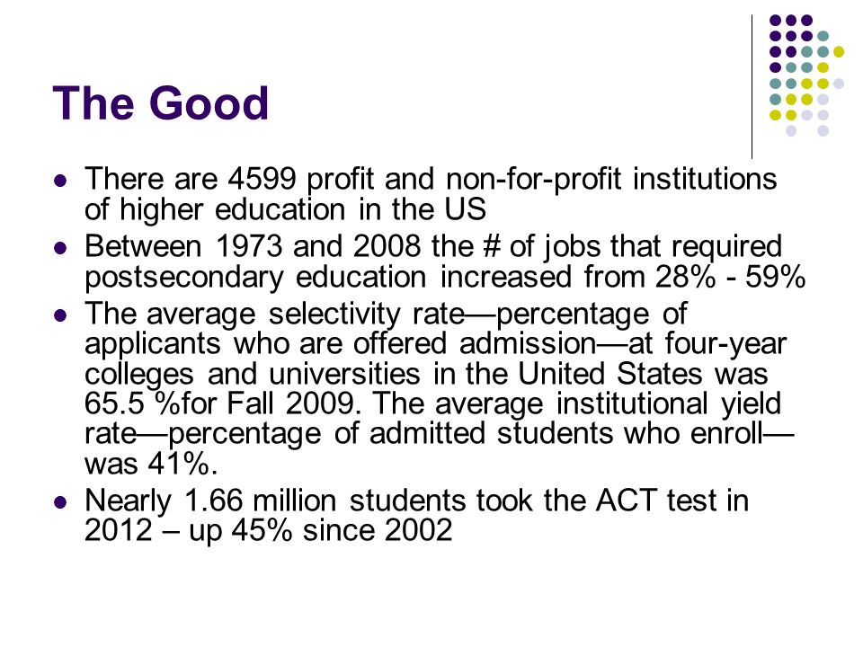 The Good There are 4599 profit and non-for-profit institutions of higher education in the US.