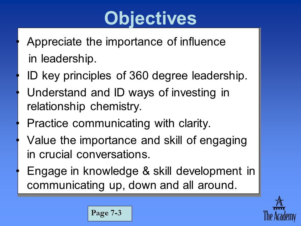Objectives Appreciate the importance of influence in leadership.