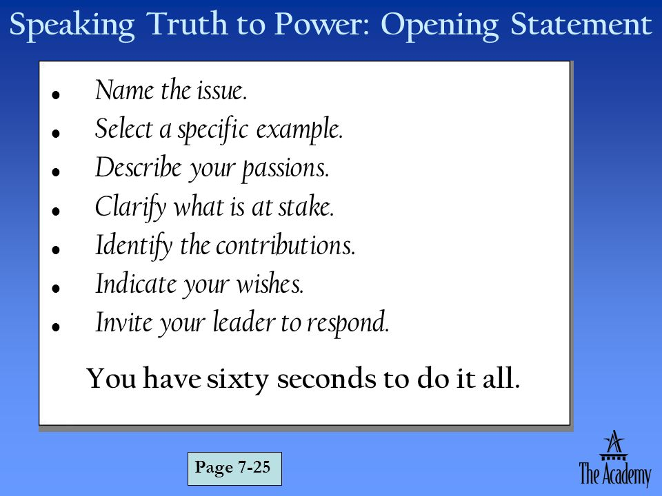 Speaking Truth to Power: Opening Statement