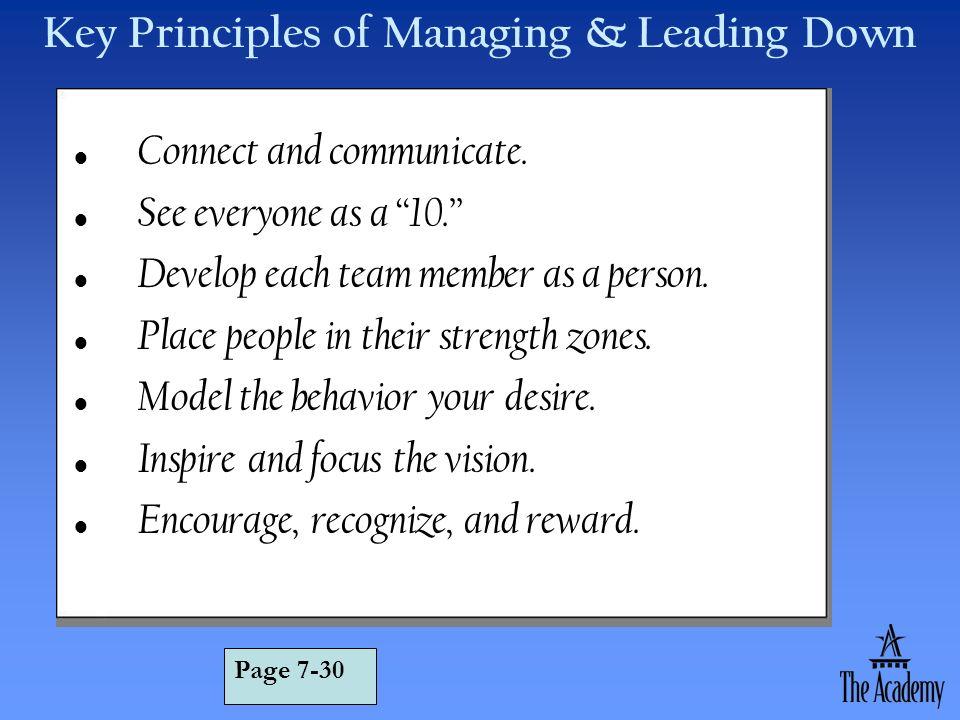 Key Principles of Managing & Leading Down