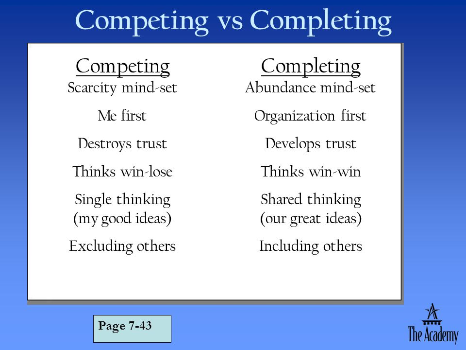 Competing vs Completing