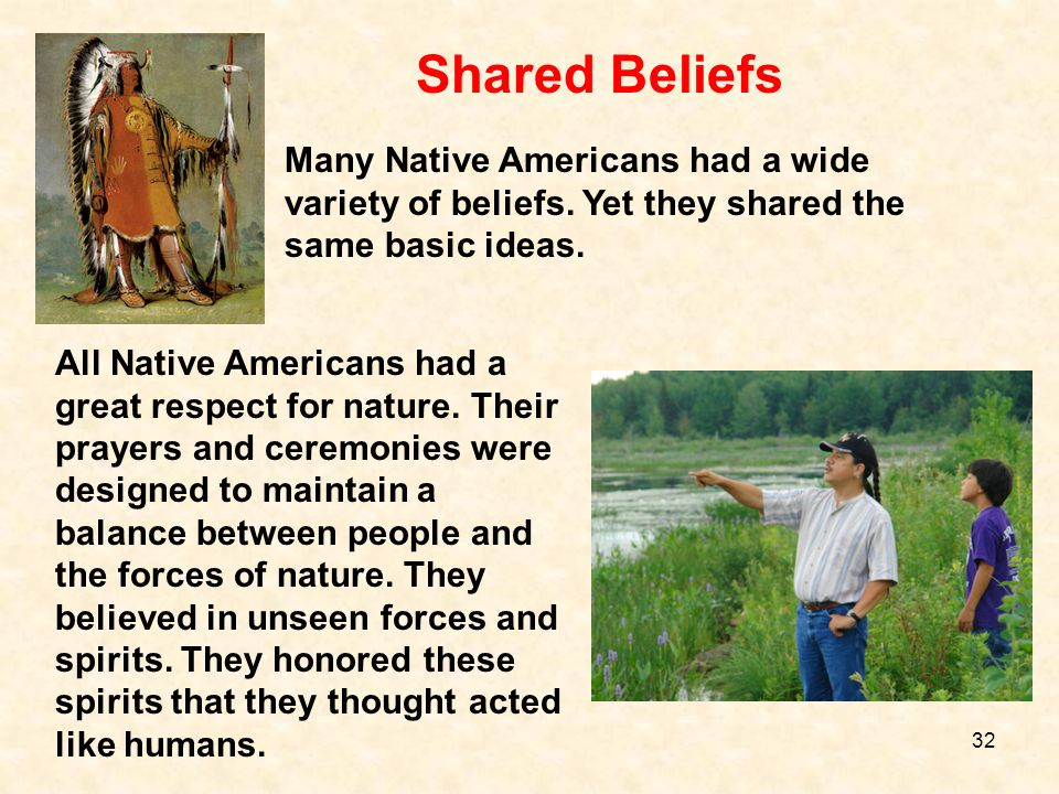 Shared BeliefsMany Native Americans had a wide variety of beliefs. Yet they shared the same basic ideas.