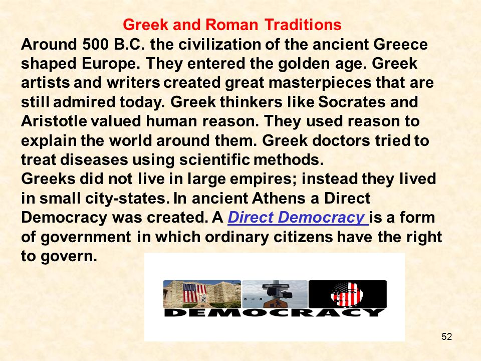 Greek and Roman Traditions