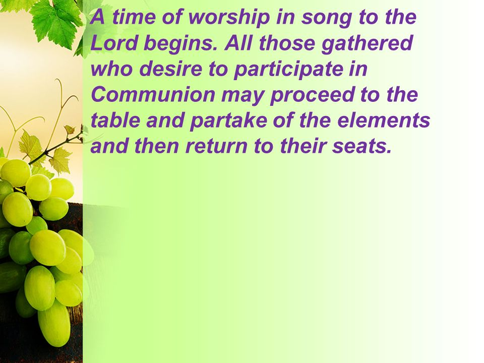 A time of worship in song to the Lord begins
