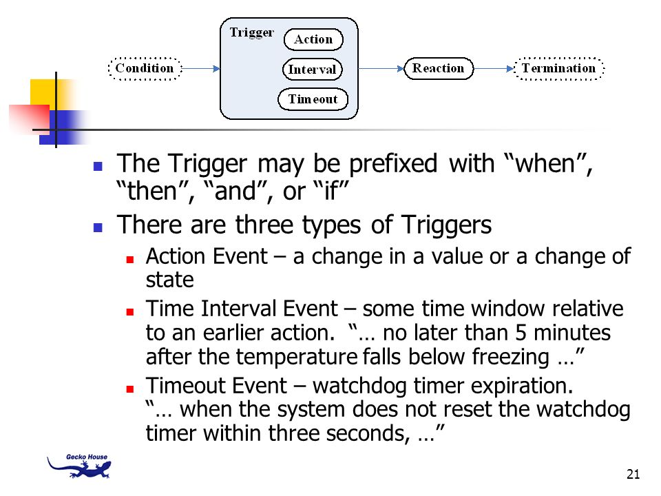 The Trigger may be prefixed with when , then , and , or if
