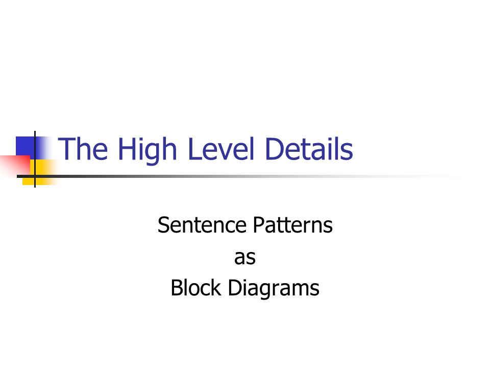 Sentence Patterns as Block Diagrams
