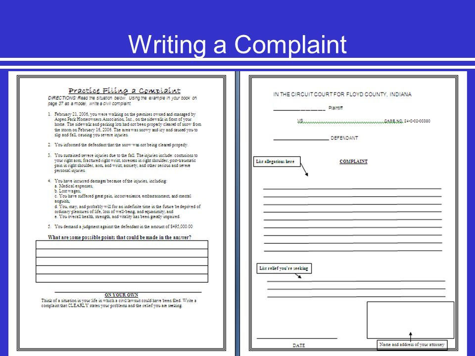 Writing a Complaint