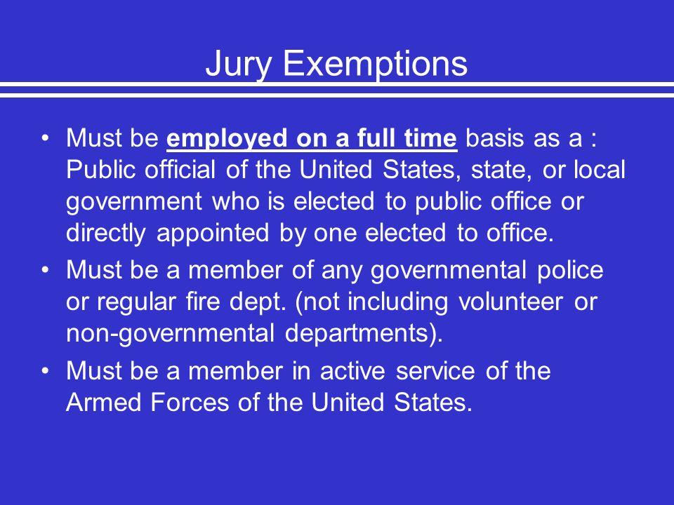 Jury Exemptions