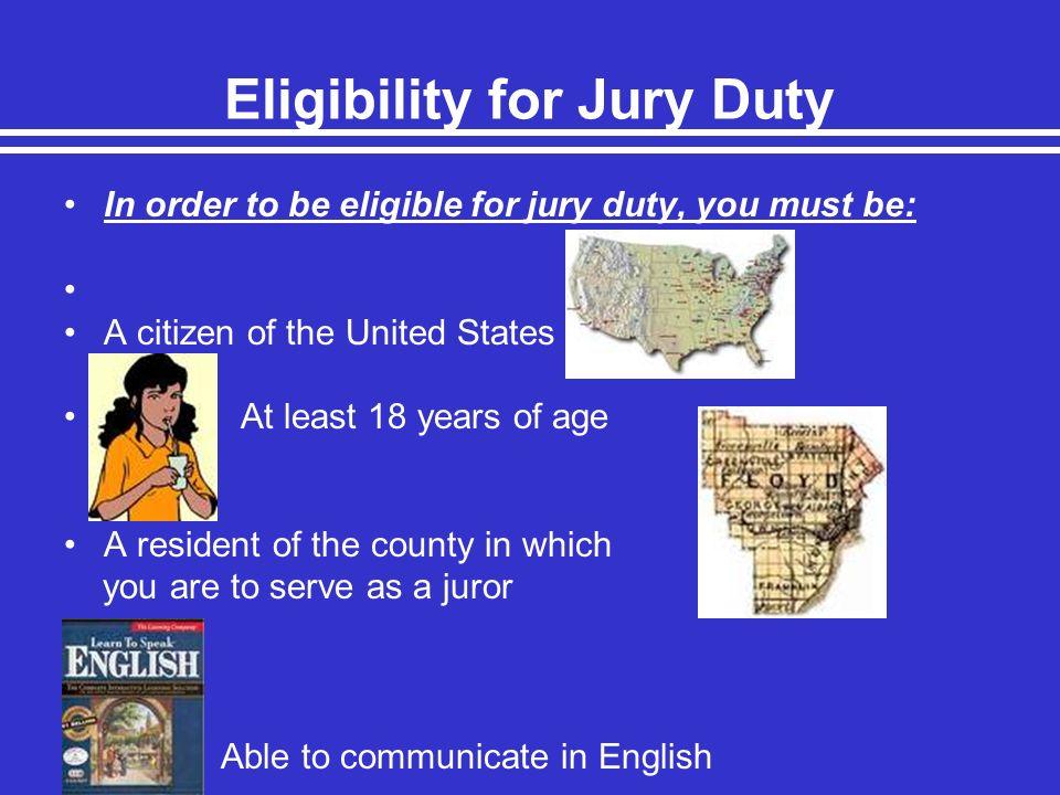 Eligibility for Jury Duty