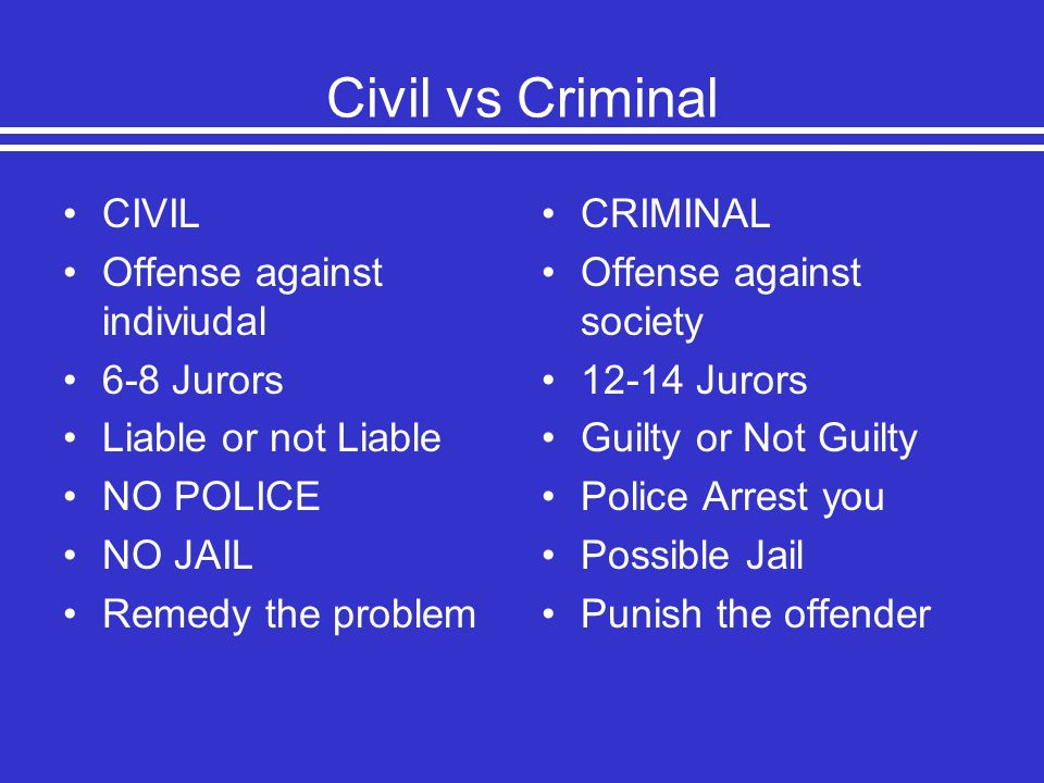 Civil vs Criminal CIVIL Offense against indiviudal 6-8 Jurors