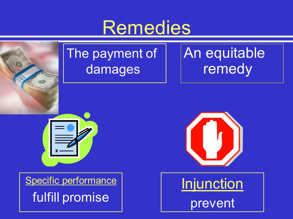 Remedies An equitable remedy Injunction The payment of damages