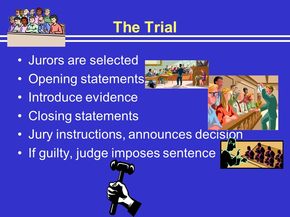 The Trial Jurors are selected Opening statements, Introduce evidence
