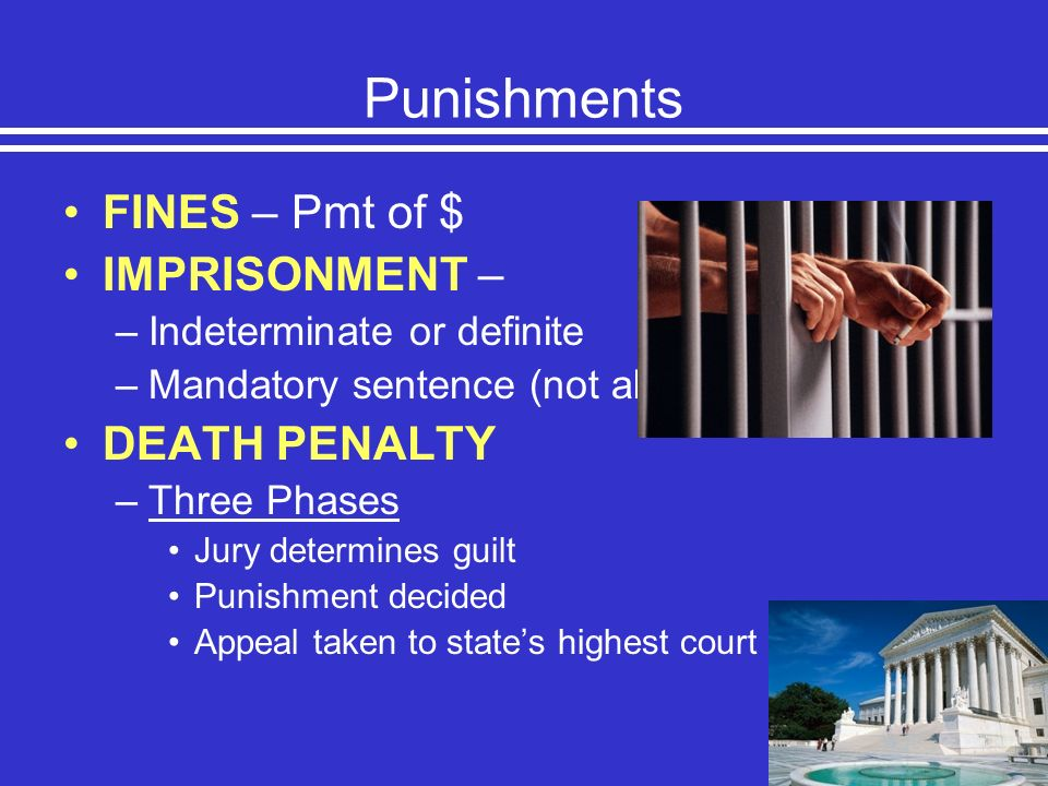 Punishments FINES – Pmt of $ IMPRISONMENT – DEATH PENALTY