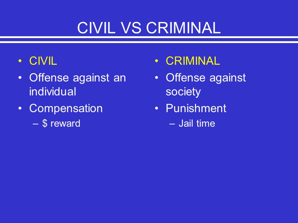 CIVIL VS CRIMINAL CIVIL Offense against an individual Compensation