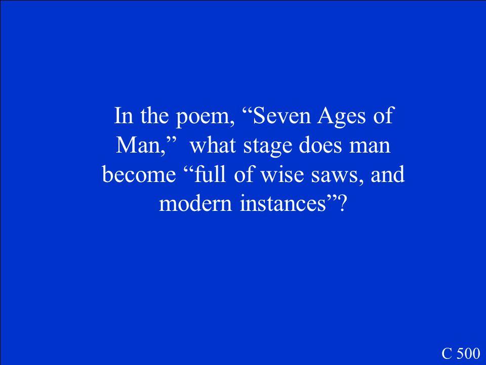 In the poem, Seven Ages of Man, what stage does man become full of wise saws, and modern instances