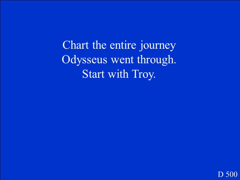Chart the entire journey Odysseus went through.