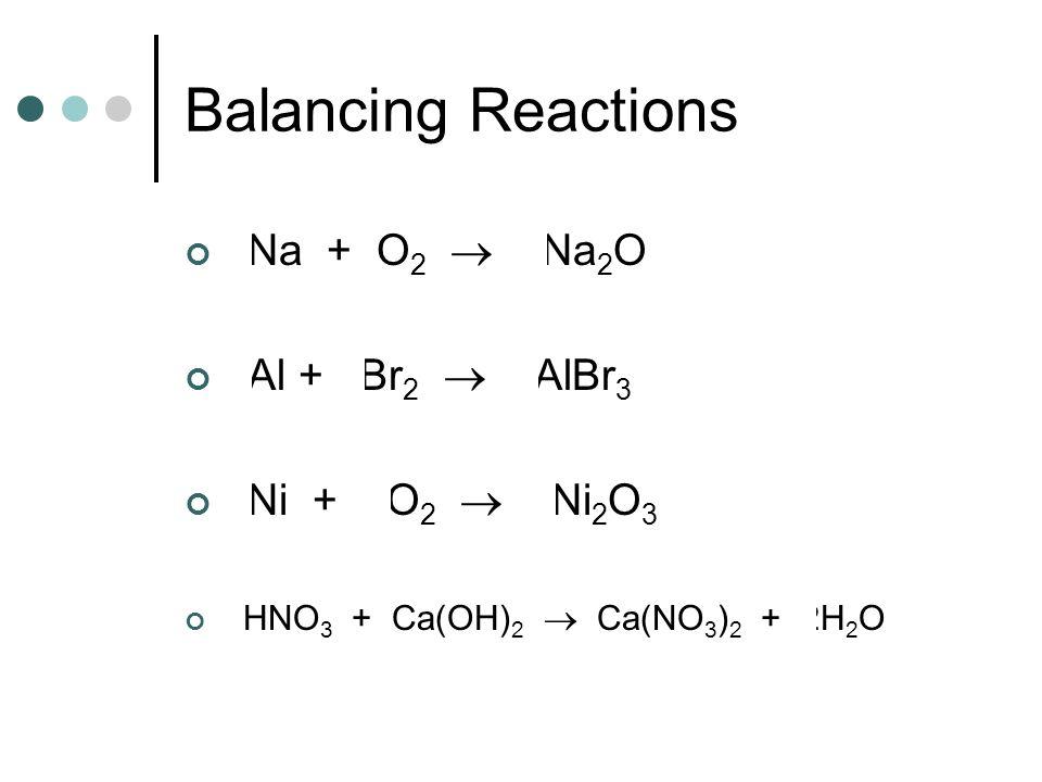 Balancing Reactions 4Na + O2  2Na2O 2Al + 3Br2  2AlBr3