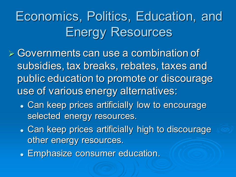 Economics, Politics, Education, and Energy Resources