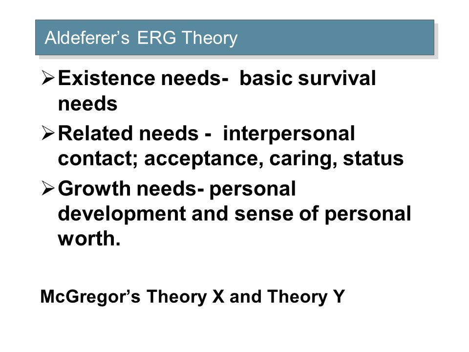 Aldeferer's ERG Theory