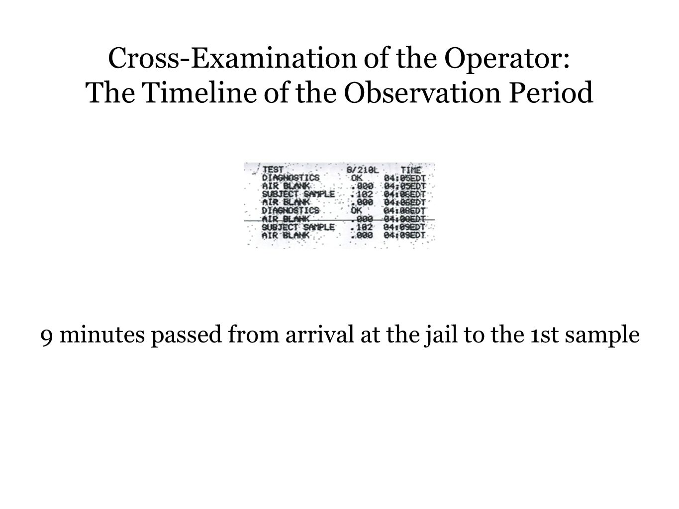 9 minutes passed from arrival at the jail to the 1st sample