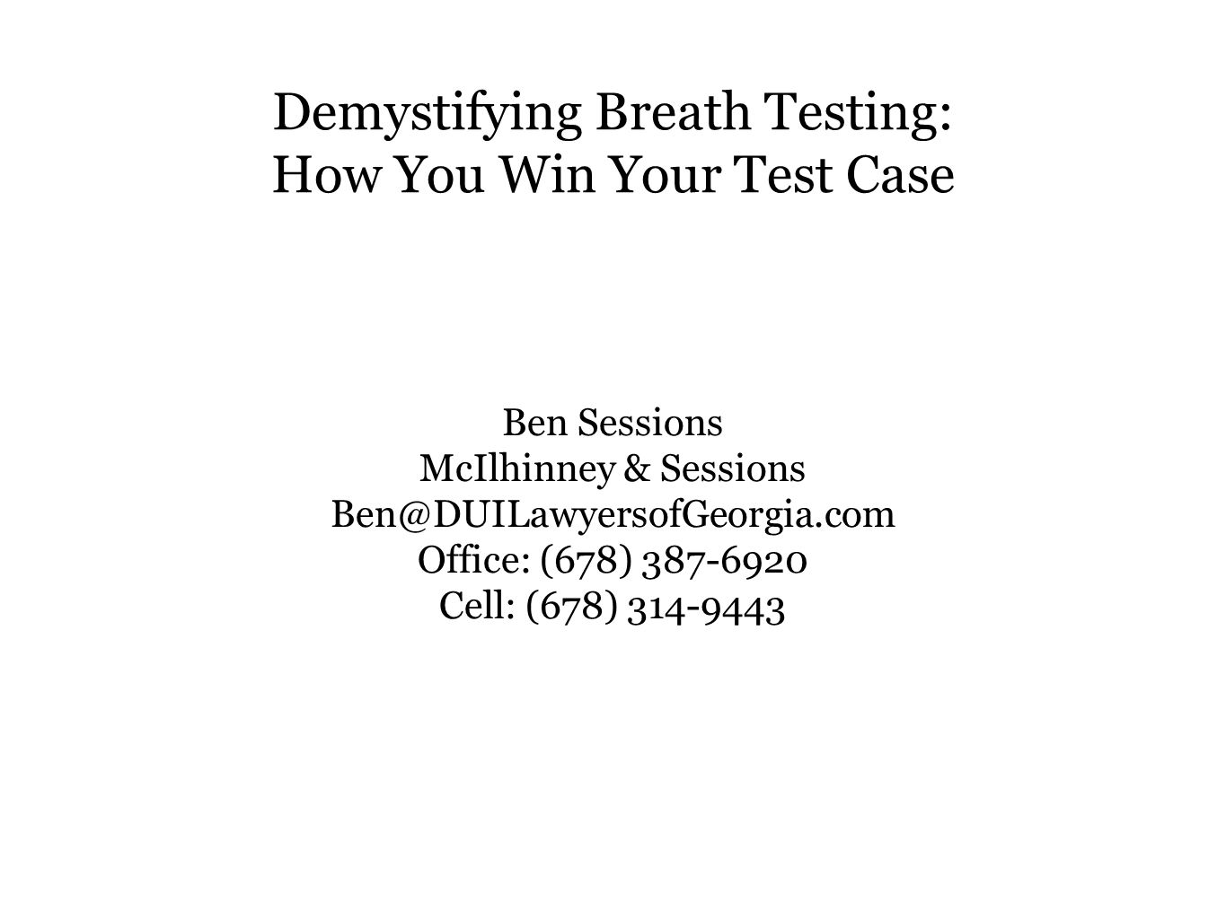 Demystifying Breath Testing: How You Win Your Test Case